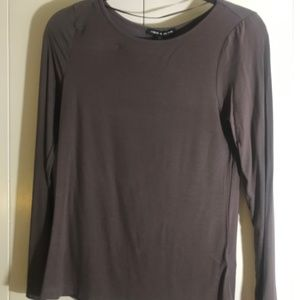 Women's chocolate brown boat neck long sleeve shir